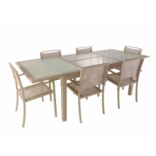 Alu extended dining table with tempered glass