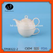 Porzellantee für einen Satz, Teekanne mit Schale, keramische Teekanne und Schale, Steinzeugteesatz Großverkauf
