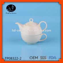 Thé en porcelaine pour un ensemble, théière avec tasse, théière en céramique et tasse, set de thé en grès vendu en gros