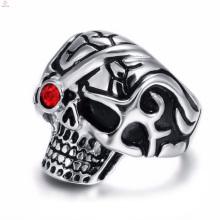 2017 новый кристалл из нержавеющей стали череп дизайн панк кольцо для мужчин