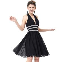 Starzz Deep V-Neck Halter Chiffon Beaded Backless Short Black Prom Dress ST000088-2