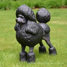 estátua de cachorro poodle bronze