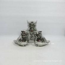 Lovely Owl Glitter Electroplating Ceramic Decoration