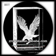 Retângulo de cristal laser K9 3D com águia voadora