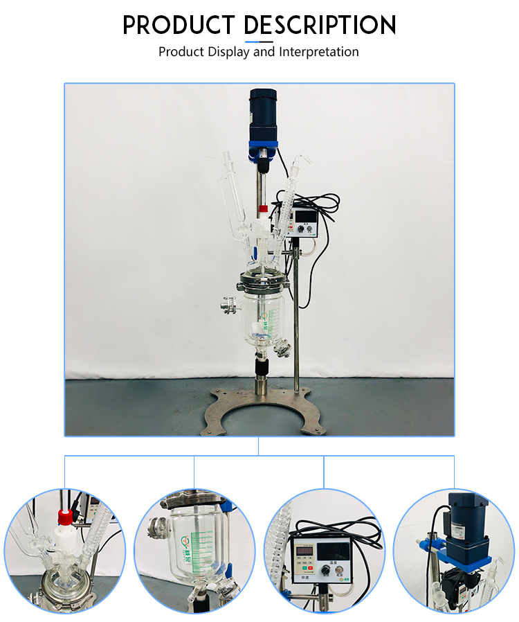 2L Chemical Lab Equipment Jacketed Glass Reactor Reaction Kettle