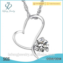 Collier élégant à bijoux Collier coeur coeur avec cristal purpur