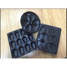 Bandejas plásticas pretas redondas do uso do restaurante do diâmetro de 265mm para ostras com o divisor no produto comestível para exportar internacional