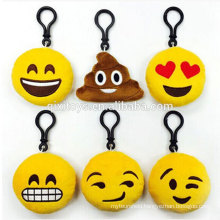 Wholesale plush keyring hot selling cute design emoji key ring popular stuffed emoticon keyring toys