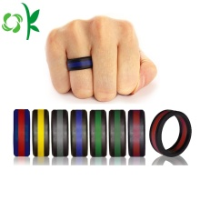 Double Color Men/Women Layer Silicone Black/Silver Rings
