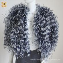 2016 Neue echte natürliche Straußen Pelz Feder Pelz Mantel Mehrfarbige Jacke für Frauen