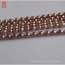 7-8mm Lavender Rice Shape Pearl String Strand