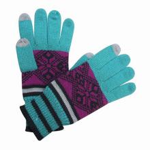 Леди мода Жаккардовые трикотажные Сенсорный экран теплые перчатки (YKY5427)