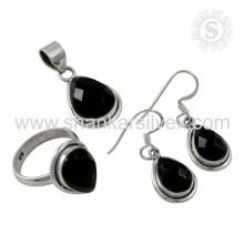Design élégant Black Onyx Jewelry Silver Set Dernier exportateur de bijoux en pierres précieuses