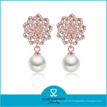 2016 Sterling Silver Rhodium Pearl Brinco (E-0256)