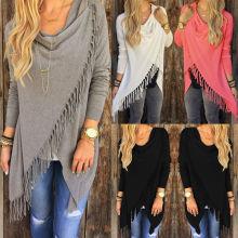 Women Irregular Tassel Knitted Cardigan Loose Sweater