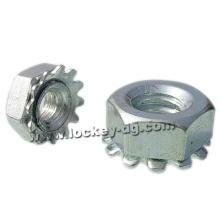 1 / 4-20 Sicherungsmutter Hex K-Lock (Kep) mit Außenverzahnung Stahl Zink