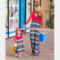 2017 New fashion plus siz family matching clothing long sleeve red color wave printed mother and daughter dress for casual wear