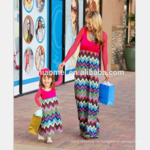 2017 neue mode plus siz familie passende kleidung langarm rote farbe welle gedruckt mutter und tochter kleid für freizeitkleidung