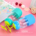 Botella de agua de cristal encantadora de los casquillos de hierba 280ml con las cubiertas del silicón
