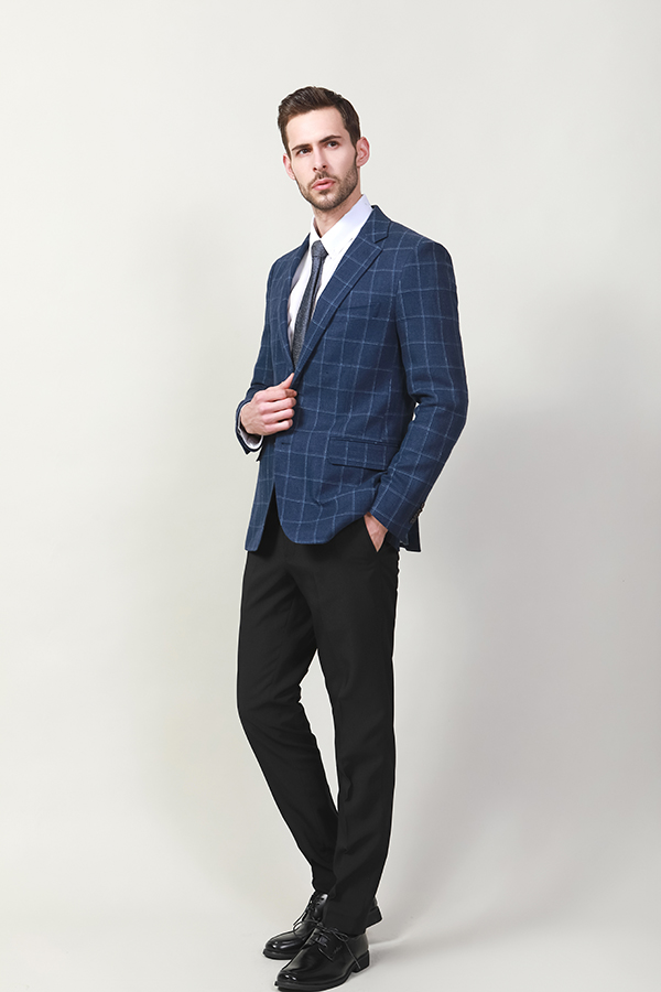 MEN'S FASHION SLIM FIT GRID JACKET