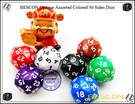 BESCON Opaque Assorted Colored 30 Sides Dice