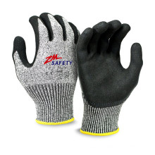 Excellent Grip Sandy Nitrile Cut Resistant Gloves with Nylon HPPE Glassfiber Seamless Knitted Liner
