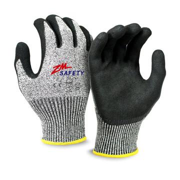 Ausgezeichnete Grip Sandy Nitrile Cut Resistant Handschuhe mit Nylon HPPE Glassfiber Seamless gestrickte Liner