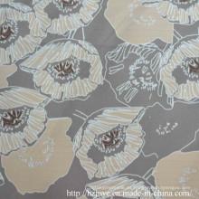 Poliéster forro impreso con flor de color crema para prendas de vestir