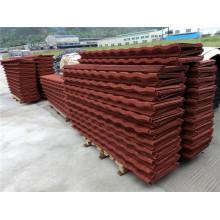 Pedra Vermelha Revestida Folha de Telhado de Metal Ondulado Material de Construção