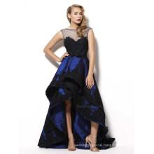 Blace Lace Appliqued Hi-Low Royal Blue Cocktail Prom Gown