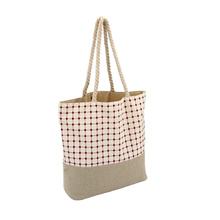 Portable Canvas jointed Linen Tote Bag Foldable Tote Canvas Bag For Shopping Supermarket