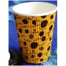 Tasse de café ondulée chaude, tasse de thé de lait de la publicité