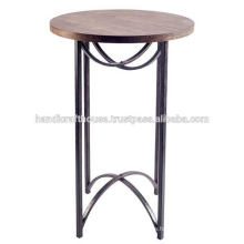 Industrial Round Metal And Mango Wood Bar Stool