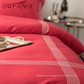Luxury hotel Factory Directly 100%cotton 60s red frame embroidery sets top 5 luxury 5 star hotel household home bedding set