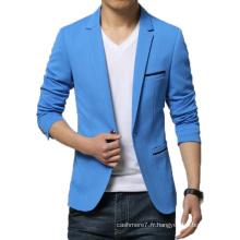 Nouvelle Arrivée Blazer Hommes Coton Soild Costume Veste Slim Fit Blazer