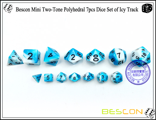 Bescon Mini Two-Tone Polyhedral 7pcs Dice Set of Icy Track-3