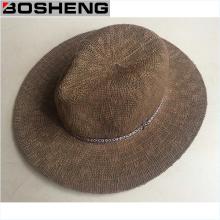 Sombrero de paja de Fedora del color oscuro del verano del hombre de la manera