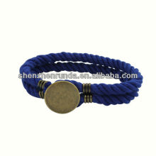 Wholesale Pure Handmade Cotton Bracelets Stainless Steel Round Button Bracelets with Men Anchor Jewelry
