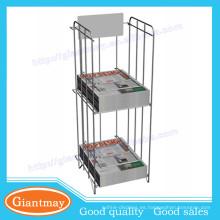 Profesional diseño metal 2 estante hilo periódico rack