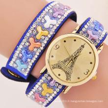 Nouveau produit fashion Eiffel Tower Cristaux en pierre naturelle Montres vintage Montres Quartz Montre Femme
