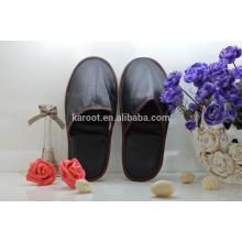 cheap soft PU personalized close toe chinese embroidered hotel slipper