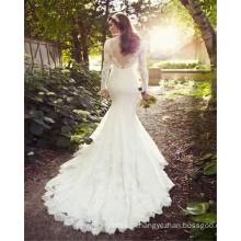 2017 Gorgeous Lace Appliqued Manga Longa Backless Long Trail White Mermaid Graceful Wedding Dress