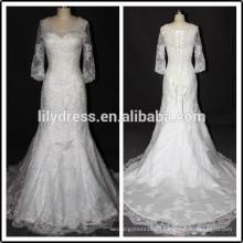 С длинным рукавом кружева Белый милая декольте Длина пола сшитое длинные формальные Свадебные BW286 свадебные платья реальные образцы