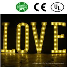 Signes de lettre d'ampoule de fer allumé par LED de haute qualité-amour romantique
