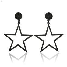 Mode évider Big Black Clip sur bijoux déclaration Pentagram boucles d'oreilles