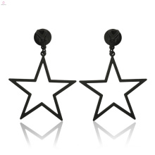Fashion Hollow Out Big Black Clip On Statement Jewelry Pentagram Earrings