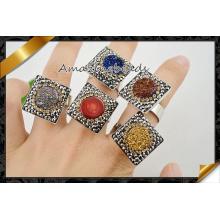 Фабрика оптового Druzy драгоценных камней кольца ювелирные изделия (FR004)