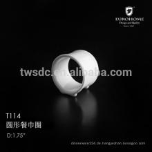 T114 Bankett Runde Serviettenring, Serviettenring Porzellan, Keramik Serviettenhalter