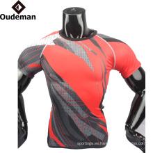 2017 uniformes de compresión camisa de fitness en blanco al por mayor diseño personalizado buena camisa de compresión sublimada para hombre