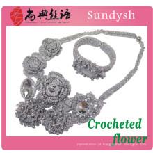 Tecido de malha de cristal moda artesanal multi fio da costa de malha rosário mão talão colar de flores de crochê